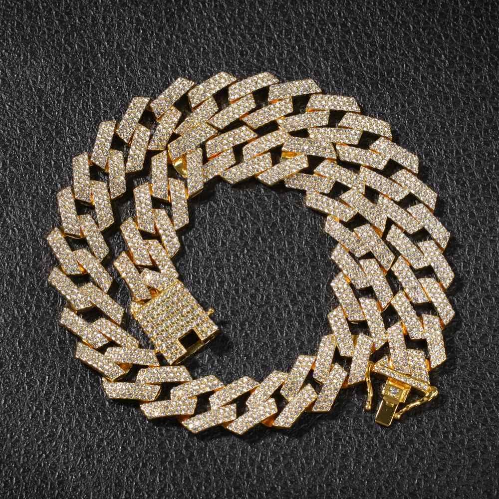 ブリンブリン王 20 ミリメートルの突起キューバリンクチェーンネックレスファッションヒップホップジュエリー 3 行ラインストーンアイスアウトのための男性