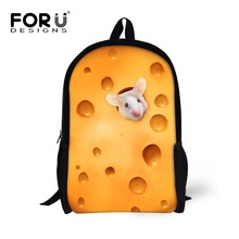 Teenager Animal Printing Backpack for Primary School Students Girls Boys Mouse Pig Pattern Backbag for Book Waterproof Back Bag
