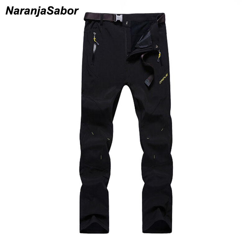NaranjaSabor 2018 Autumn Winter Men's Pants Warm Inside Fleece Casual Thermal Pant Waterproof Male Thick Trousers For Jogger 5XL