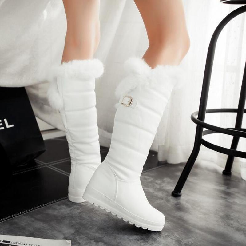 2017 hiver automne nouvelles plumes chevalier genou bottes femmes mode sans lacet hauteur augmentant chaussures bottines grande taille 34-42