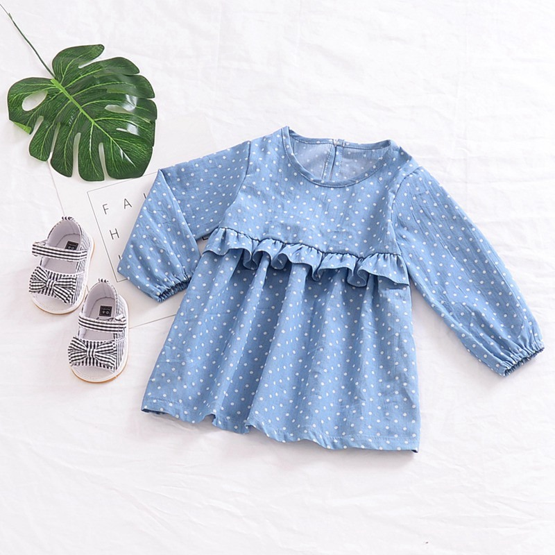 Baby Girls Ruffle Dot Floral Dress Fashion Childrens Long Sleeve Clothing Cotton Dress 6 Months - 4 Years