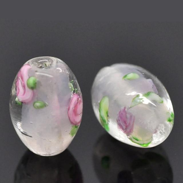 "DoreenBeads Glass Beads Barrel Light pink Flower Pattern Dyed About 14mm( 4/8"")"