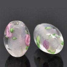 DoreenBeads – perles en verre rose clair, 2 pièces, motif de fleurs teintées, environ 14mm( 4/8
