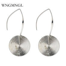 WNGMNGL New Vintage Simple Gold Sliver Color Thread Round Long Drop Dangle Earrings For Women 2018 Femmes Charm Fashion Jewelry