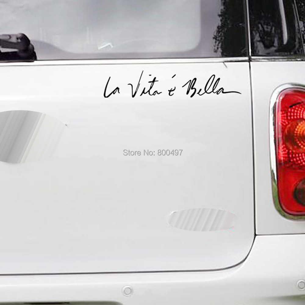 ตลกสติ๊กเกอร์Life Isเพื่อความสวยงามLa Vie Estศรีเบลล์รถยนต์Autoรูปลอกสติกเกอร์รถอุปกรณ์เสริมสำหรับเทสลาเบนท์ลีย์จากัวร์วอลโว่