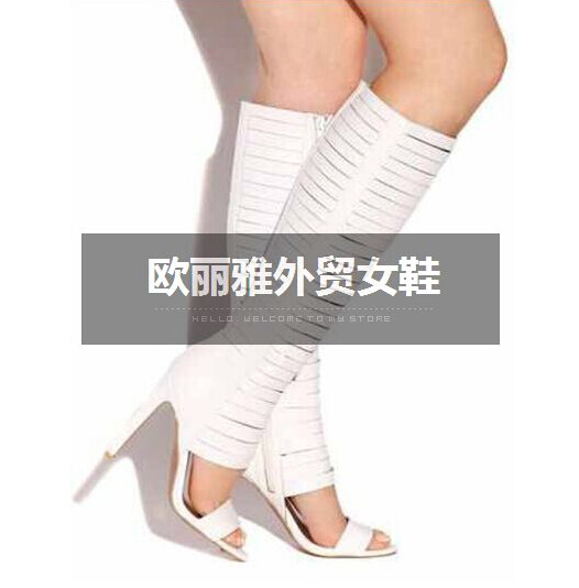38d0811260fc Free Shipping Sexy Luxury T Stage Prom Shoes Women Gladiator Sandals  Leather Summer Boots Open Toe Black Gold Thigh High Boots-in Over-the-Knee  Boots from ...
