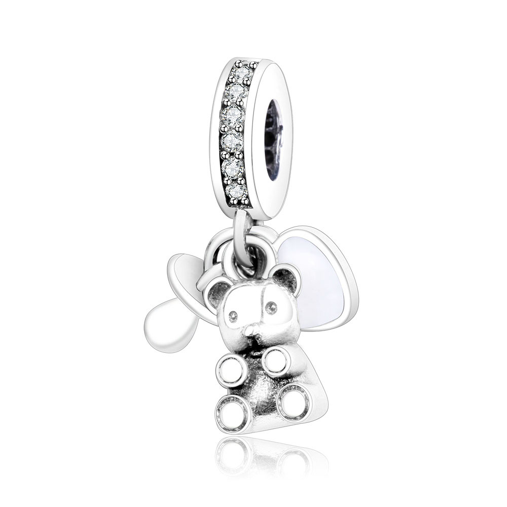 925 Sterling Silver Bead Charm Baby Treasures & A Pacifier Pendant Beads Fit Pandora Beads Bracelet Bangle DIY Jewelry Making 925 sterling silver charm a z letter of the alphabet with crystal pendant beads fit pandora original bracelet diy jewelry making