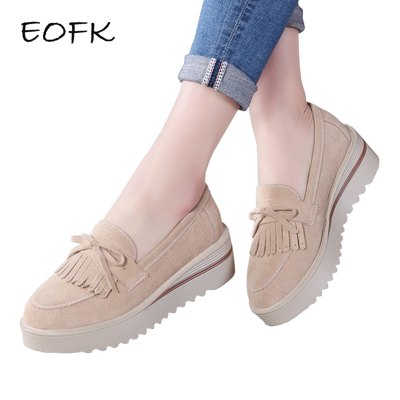 EOFK Women Loafers Flat Platform Shoes Woman Autumn Fringe Tassel Butterfly knot Moccasin Slip On Casual Genuine   Leather   Shoes