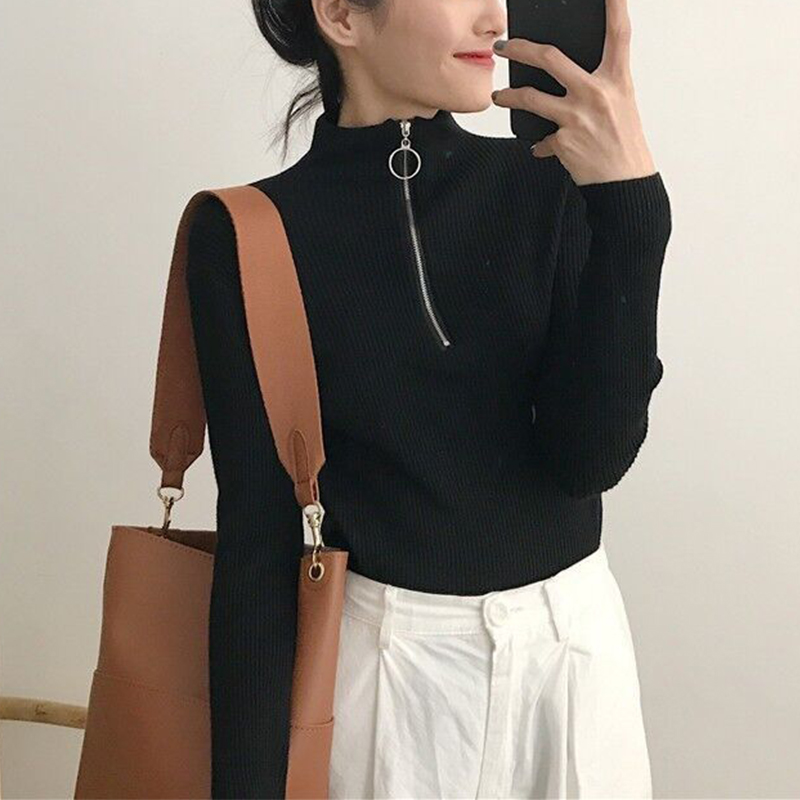Zipper Turtleneck Sweater Women 2018 Winter Autumn Ring Christmas Sweater Women Fashion Vintage Women Sweater Pull Femme Hiver
