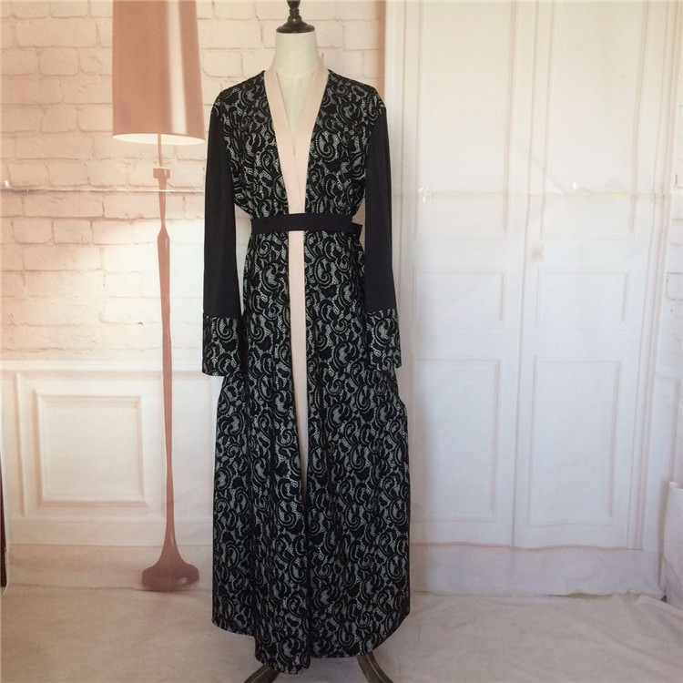 store product adult casual lace cotton robe musulmane turkish printed abaya muslim dress cardigan ro