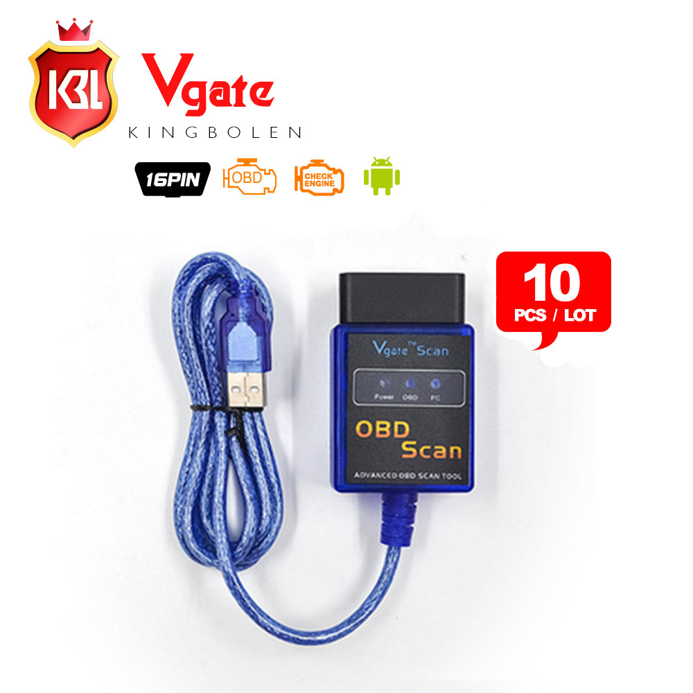 Prix pour 10 PCS/LOT Vgate ELM327 USB OBD Scan USB De Diagnostic Scanner Travail Avec OBD2 Véhicules Vgate ELM 327 USB OBD2 Scan