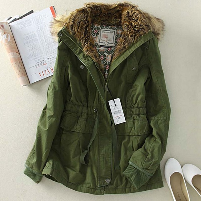 Aliexpress.com : Buy Brand Winter Coats Women Fur Hood Thick Army