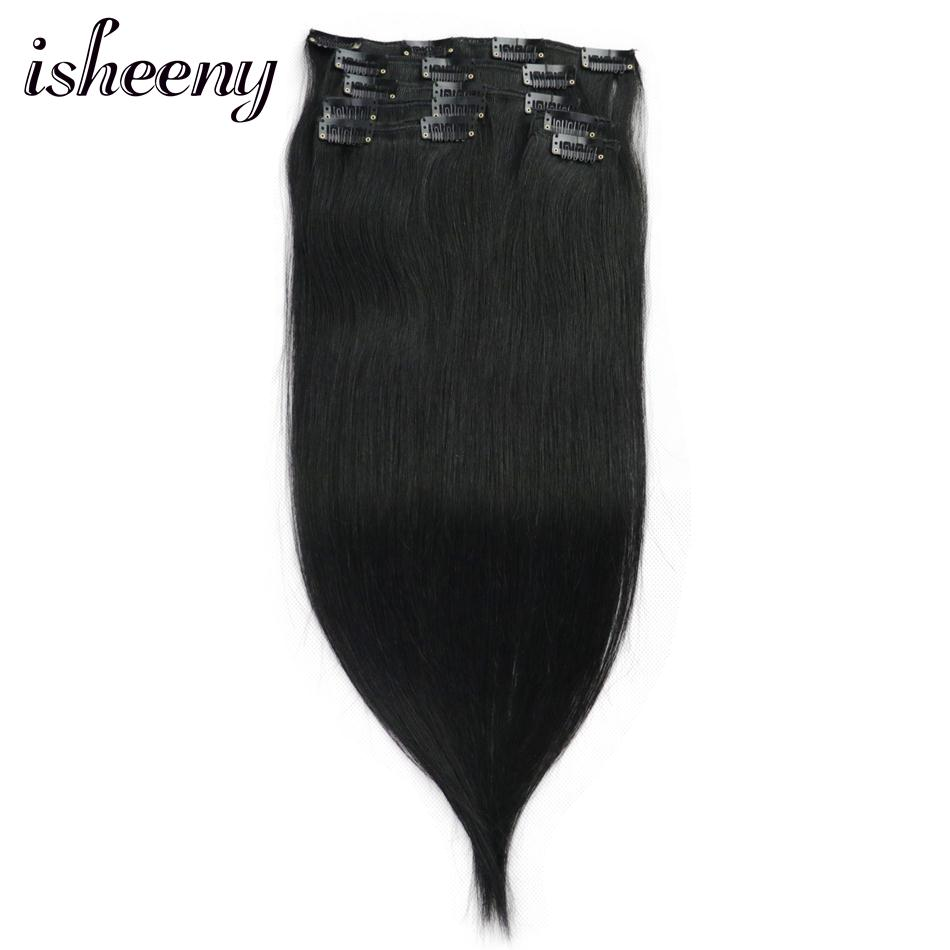 "Isheeny Jet Black 7pcs/set Remy Clip In Full Head 14"" 16"" 18"" Clip In Human Hair Extensions Straight(China)"