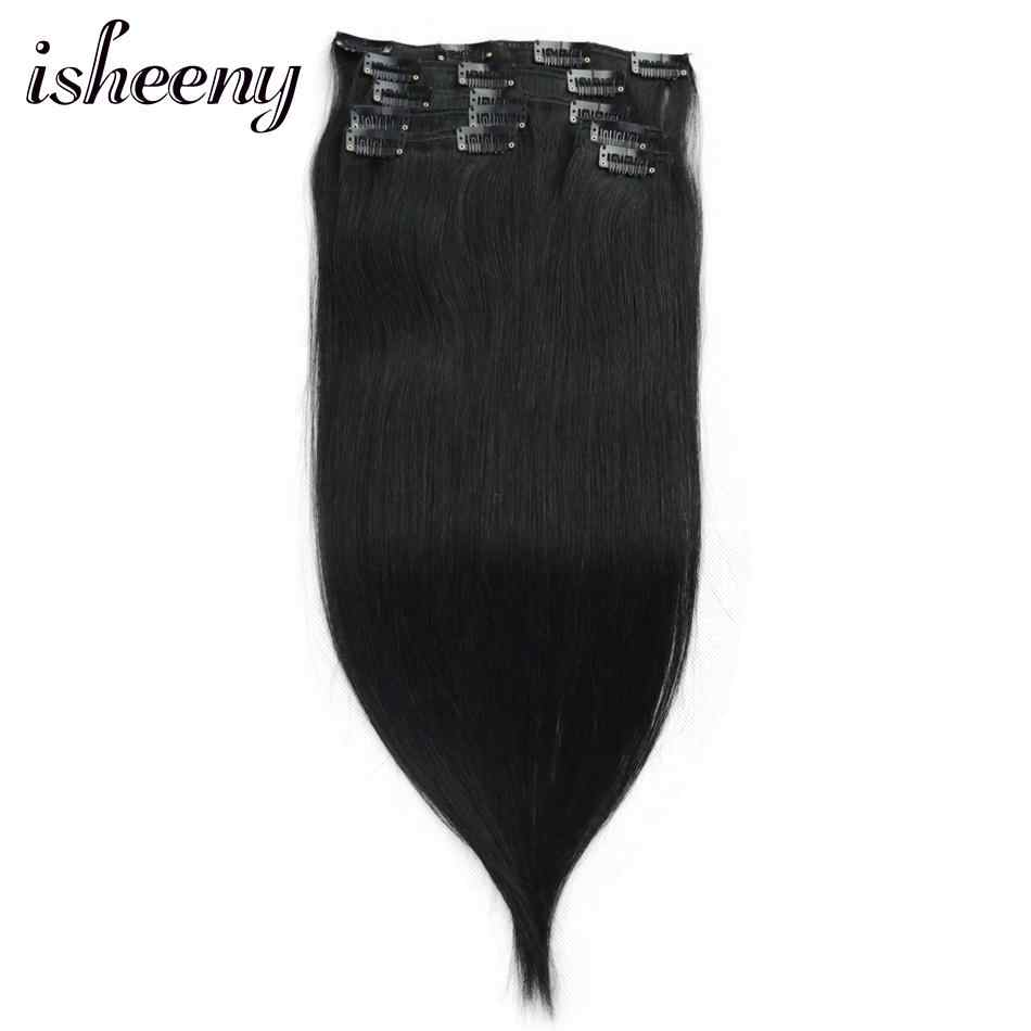 "Isheeny Jet Black 7pcs/set Remy Clip In Full Head 12"" 14"" 18"" Clip In Human Hair Extensions Straight"
