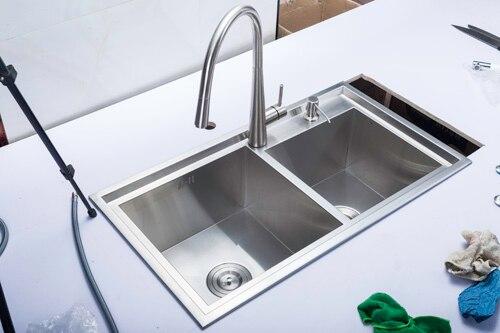(78X43x22 cm) évier de cuisine fait à la main à Double cuve, évier en acier inoxydable 304 avec robinet mitigeur chaud et froid - 2