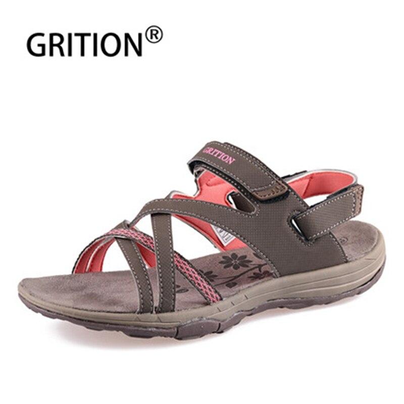 GRITION Women Outdoor Sandals Summer Breathable Flat Beach Shoes Outdoor Lightweight Trekking Hiking Sandals Sandalias Hombre
