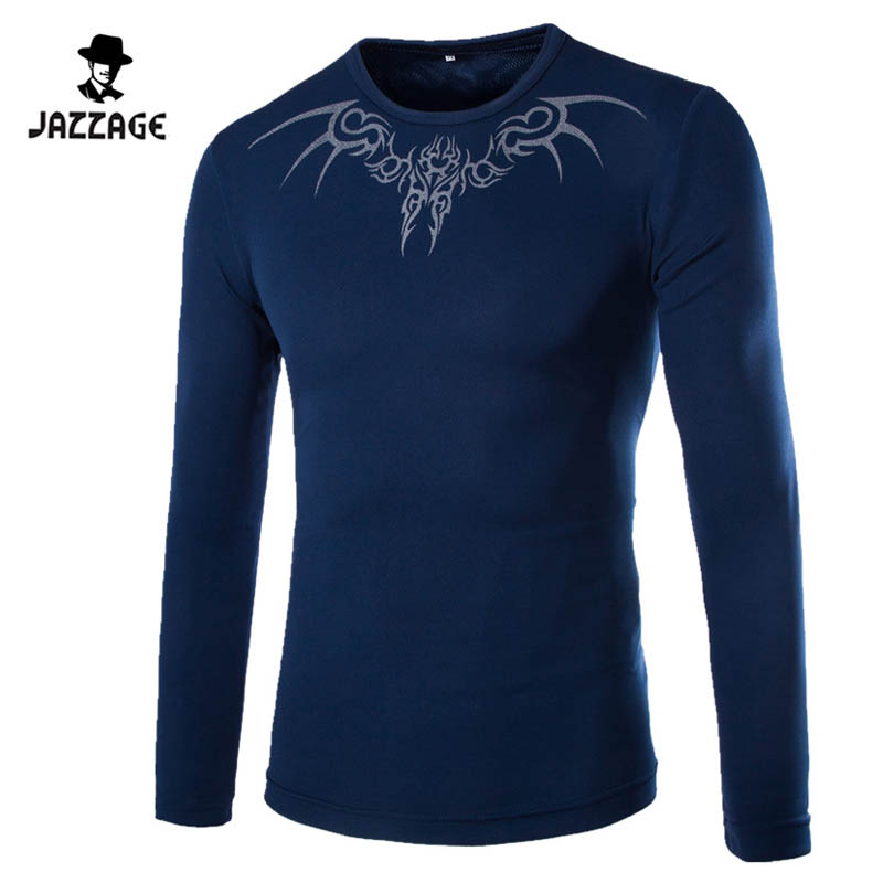 2018 Automne Hommes Marque T-Shirt Mode Slim Dragon Impression Atmosphère T-shirt Plus La Taille À Manches Longues T-shirt Hommes Taille XXL 988