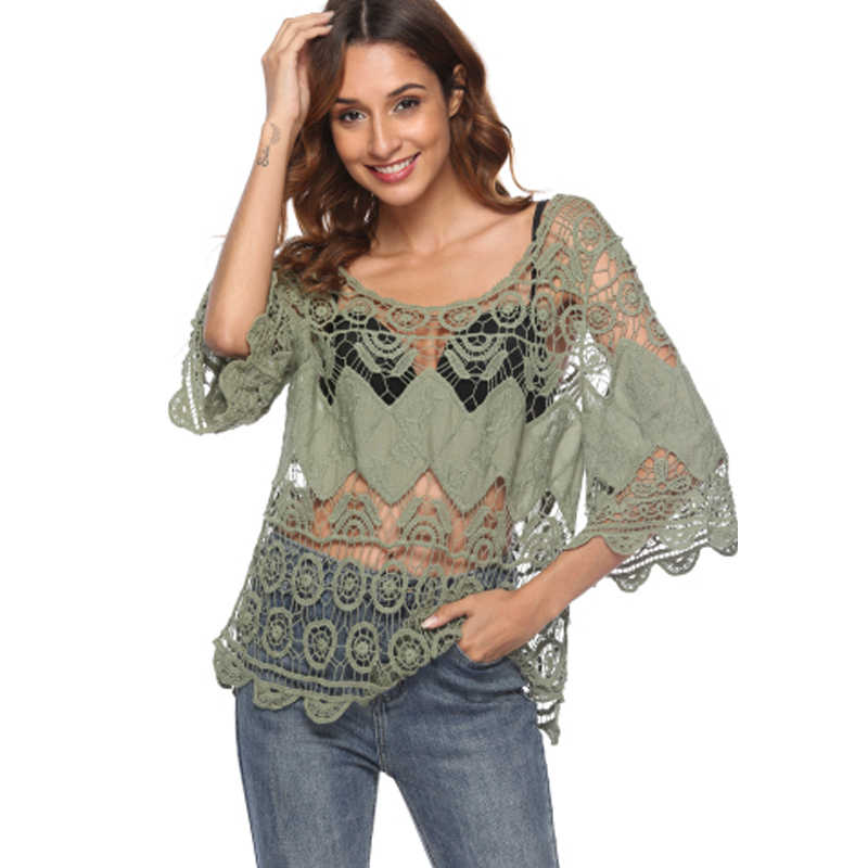 2d6f1647bf SESOAF Women Hollow out Sexy Lace Cover Up Casual Through Beach wear Shirt  chemise Blouses Dropship