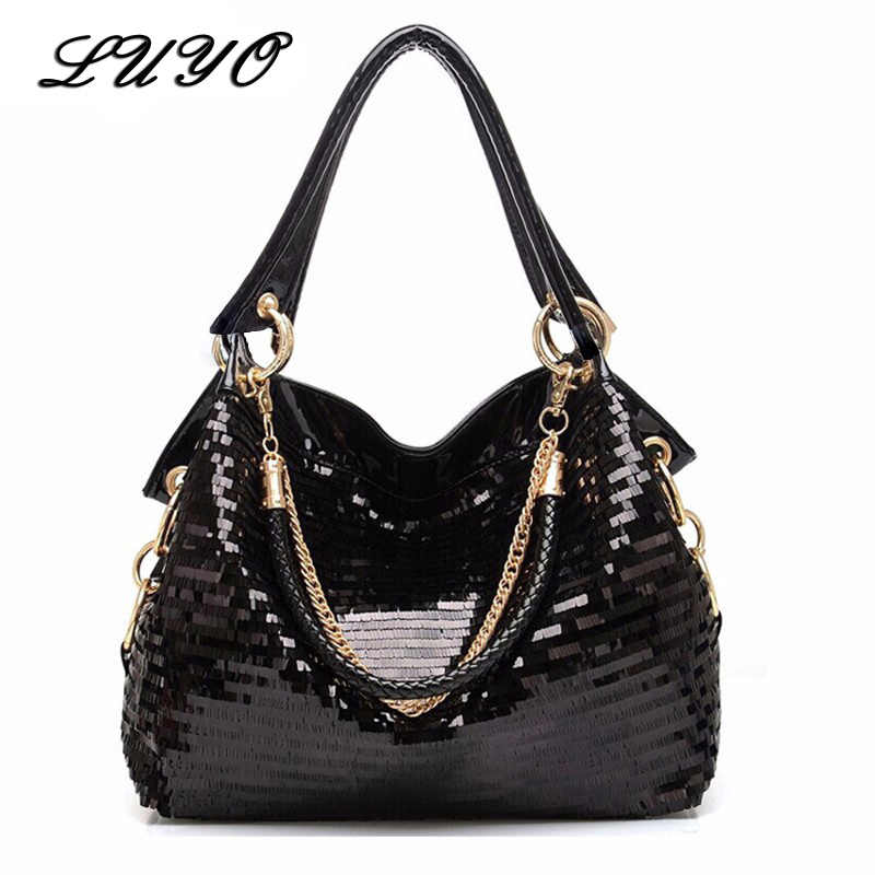 f04f7b9a0 LUYO Fashion Patent Leather Hobos Women Messenger Shoulder Bags Female Coss  Body Mermaid Sequin Bag Tote