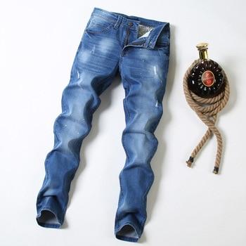 New men's cotton worn, worn, white trend straight trousers Korean version of cotton slim feet in the waist jeans