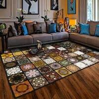Vintage classique grand Tapis décor à la maison Tapis pour Salon antidérapant Tapis géométrique 3D imprimé carré Tapetes Tapis Salon