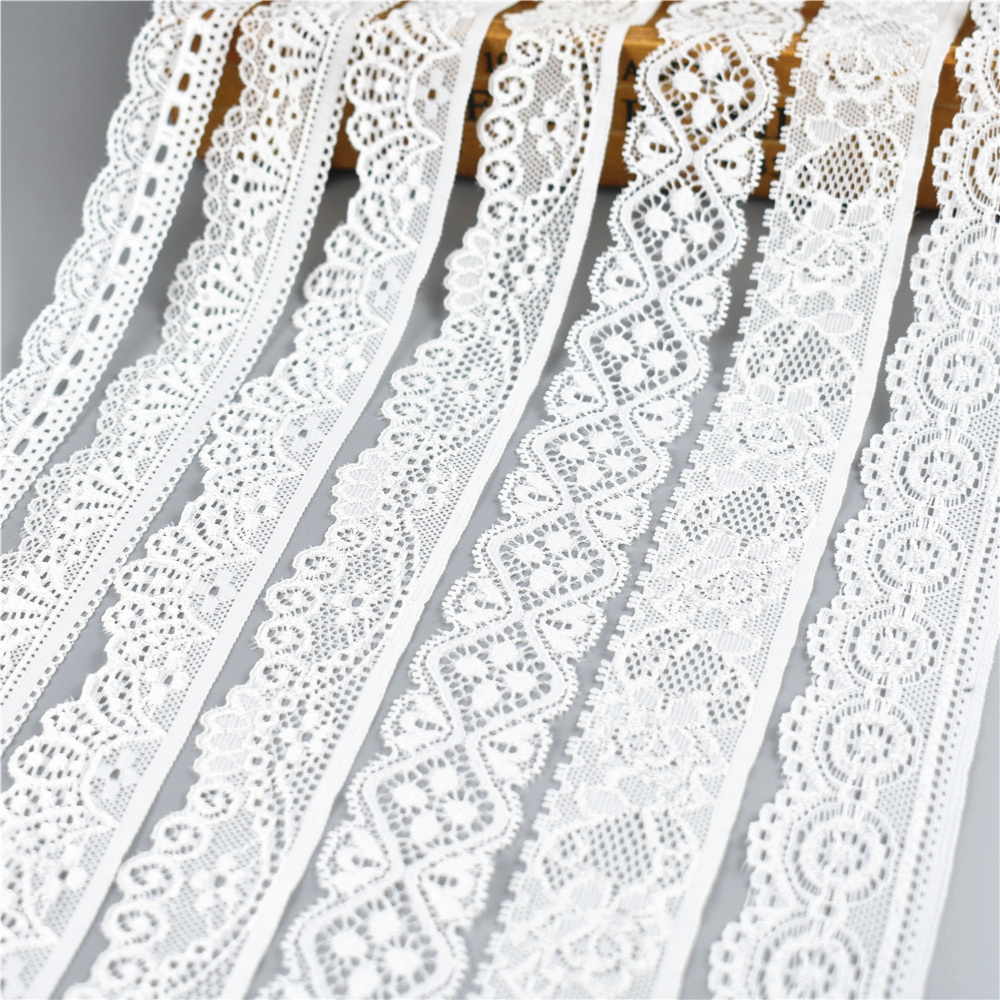 5Yard/Lot High Quality White Elastic Lace Ribbon Trims Underwear Lace Trim Embroidered For Sewing Decoration African Lace Fabric