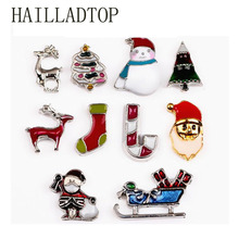Fashion Floating Locket Charms Silver Plated Christmas Mix For Glass Photo Hat Boots Tree