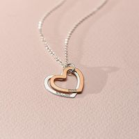Personalized double Heart Necklace silver gold rose gold custom name pendent necklace birthday gift 925 sterling silver