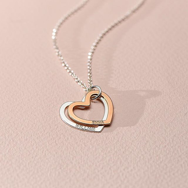 купить Personalized double Heart Necklace silver gold rose gold custom name pendent necklace birthday gift 925 sterling silver по цене 2513.19 рублей