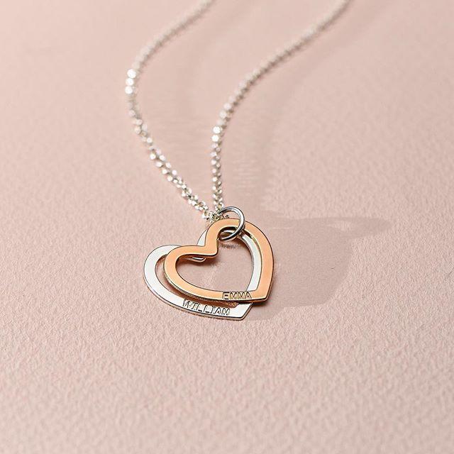Personnalisé double coeur collier argent or rose or personnalisé nom pendentif collier cadeau d'anniversaire 925 sterling argent