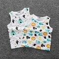 1-4y Crianças Vest Verão 2016 Moda Bobo Choses Frutas Impressão Algodão camisas de T para Meninos Das Meninas Do Bebê Sem Mangas Colete Crianças Top Tee