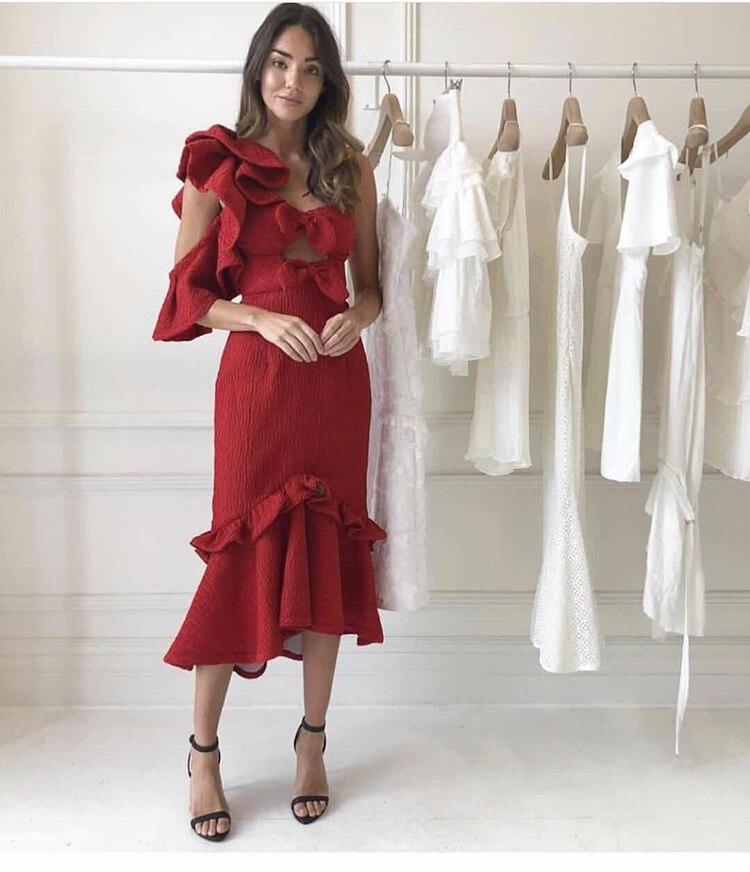 Vestido de Fiesta de Primavera de 2019 nuevo color rojo con volantes para mujer-in Vestidos from Ropa de mujer    2
