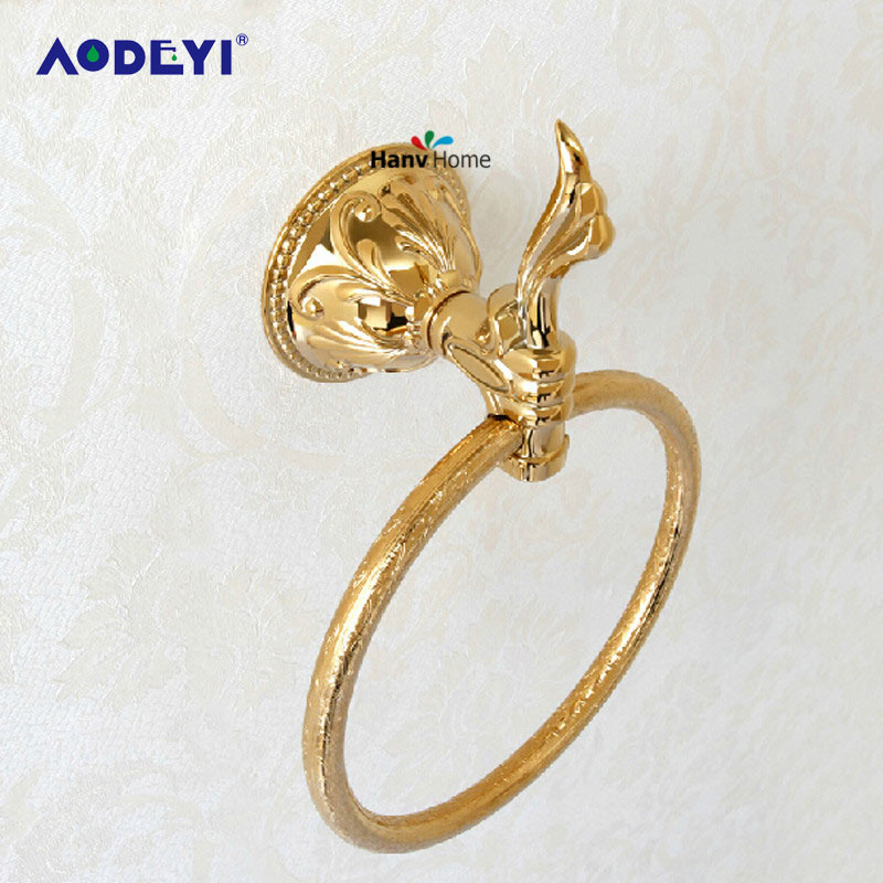 AODEYI Zinc Brass Titanium Golden Finished Towel Ring Bathroom Accessories Products Gold Towel Holder Towel Rack