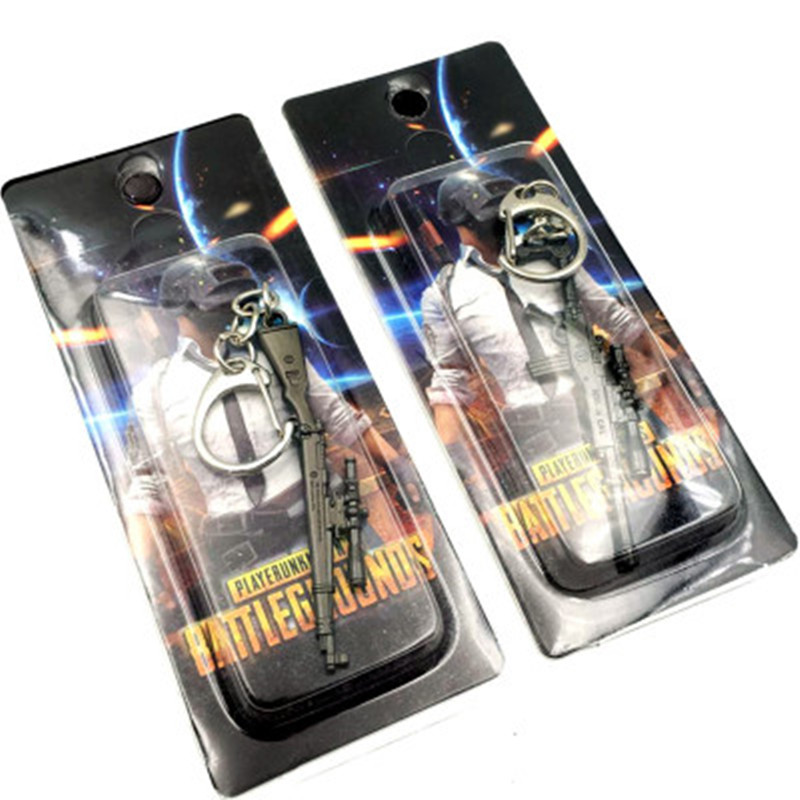 2019 Hot Game 14 Style Mini PUBG Weapon Gun Keychain M416 AWM Keychain Metal Alloy Key Ring Key Holder 6cm Blister Card Package