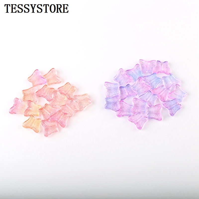 10pcs Small Butterfly Shape Lampwork Beads Multi Gradient Color Glass Beads For Jewelry Making Handmade DIY Accessories(China)