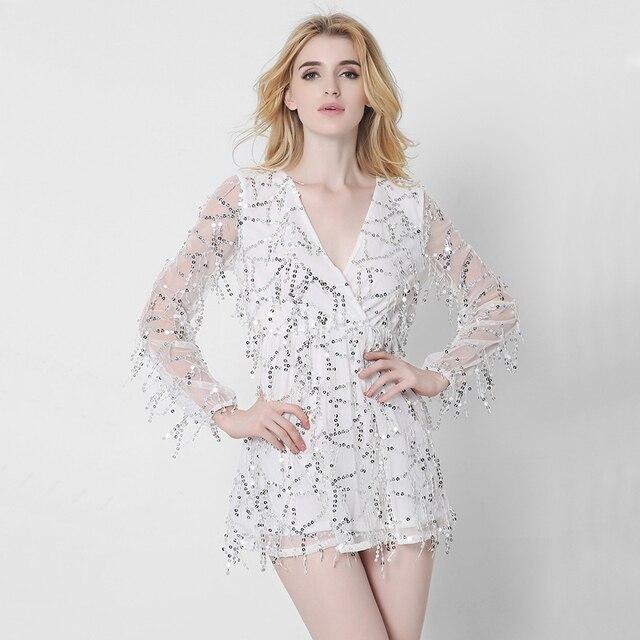 Sexy Long Sleeve Sequin Tassel Autumn Dress 2017 Beach Party Mini Short  Dress Women Chiffon Party Dresses Vestidos C2646 72076999b