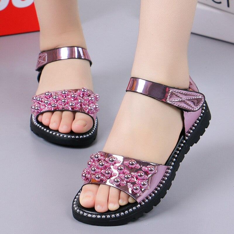 2019 été nouvelle fille Rhineston sandales enfants enfant mode perle en cuir verni princesse sandales fête chaussure pour filles grande chaussure 27-