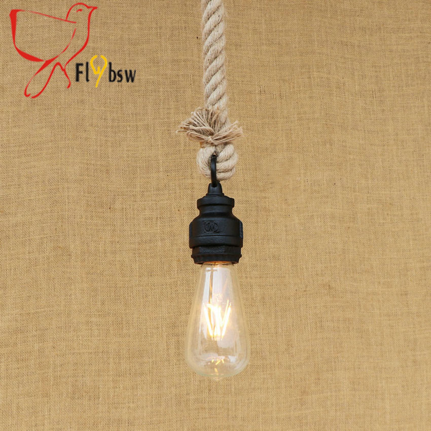 Countryside style retro black color water Pipe hemp rope pendant lamp Edison Industrial Vintage Droplight for Bar Hall Cafe deco industrial vintage 4pcs e27 edison bulb water pipe pendant lamp rustic retro lustres hanging lighting for bar cafe shop fixture