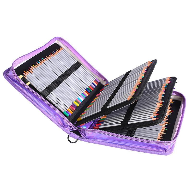 160 trous 4 couche sac à crayons couleurs Laser crayon couleurs étui grande capacité PU boîte à crayons de couleur pour cadeau étudiant fournitures d'art