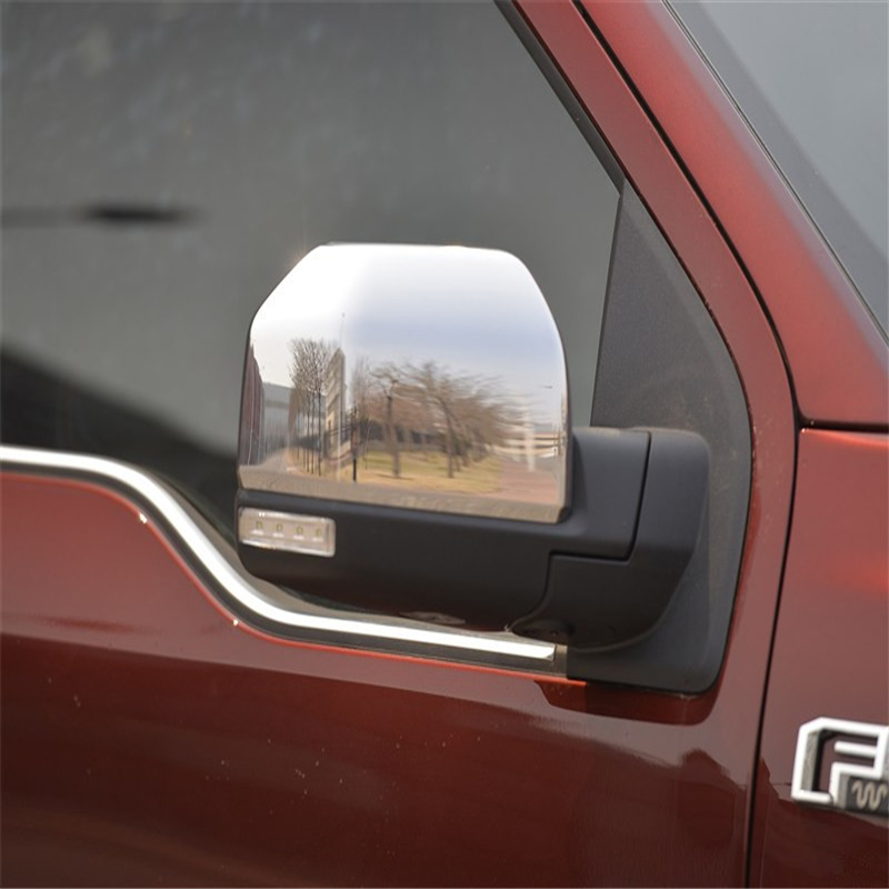 Car Styling For Ford <font><b>F150</b></font> <font><b>Accessories</b></font> Pickup 2015 2016 Abs Chrome Rearview Mirror Cover Side Door Mirror Frame Stickers 2pcs/Set image
