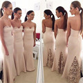 2016 New Elegant Sweetheart White Lace Satin Mermaid Long Bridesmaid dresses Wedding Party Dress  vestido de festa Custom Size