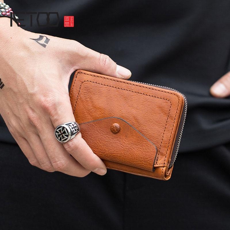 AETOO Retro leather short wallet men s multi function folding wallet women leather small wallet zipper