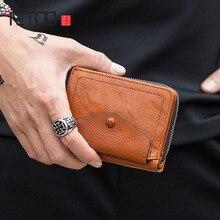 AETOO Retro portfel skórzany męski wielofunkcyjny składany portfel kobiet mały portfel skórzany torba na zamek błyskawiczny może umieścić monety