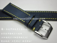 Nylon Blue Black Leather Canvas Watchband For Omega Seamaster deville 20 21 22mm Watch Strap For Blancpain Fifty Fathoms Belt