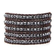2016 Newest Punk Style Grey Metal Beads 5 Wrap Leather Bracelet For Women Men Jewelry Loom Bands Kors Multilayers Bracelets