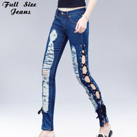 Sexy Lace Up Jeans Woman Hollow Out Cross Strap Bandage Pencil Pants Ripped Hole Tight Jeans