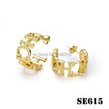 Envío gratis femenina moda copper CH pendientes carta