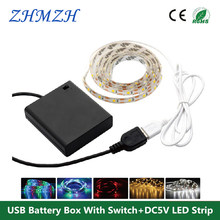 1 Set USB Battery Box With Switch + DC5V LED Strip 50cm 1m 2m SMD 3528 For TV Background Lighting Waterproof or Non waterproof(China)