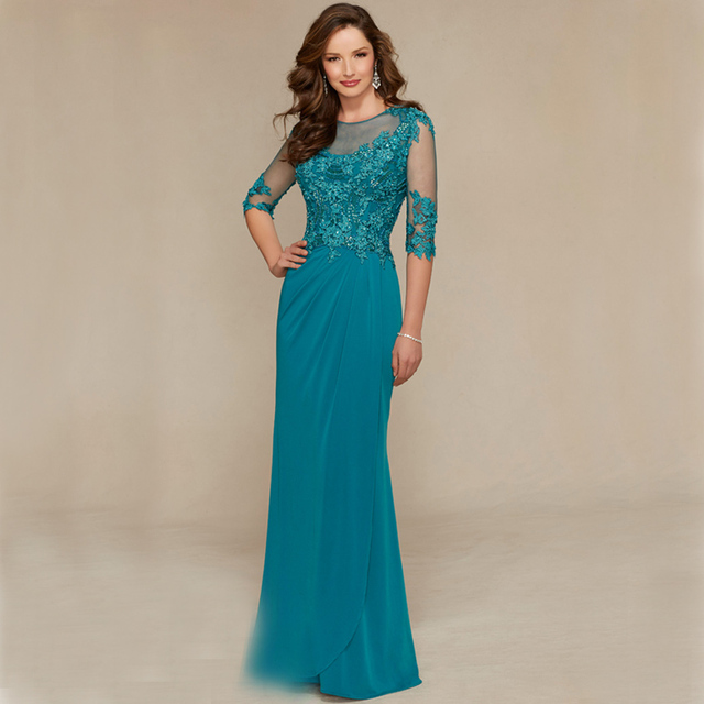 Elegnat Woman Dresses A Line Three Quarter Sleeve Long Mother Floor Length Of The