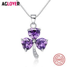 Fashion 925 Silver Jewelry of Love Clover Necklace Sterling Heart Purple Crystal Zircon Necklaces & Pendants for Women